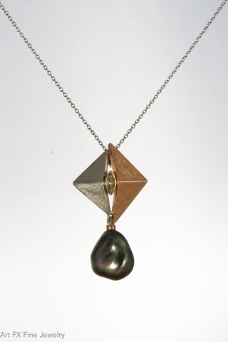 18k Rose Gold Palladium Keshi Pearl and Diamond Pendant