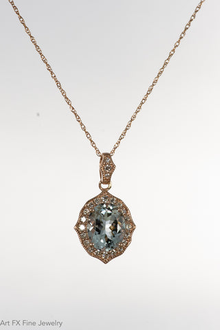 14k Rose Gold Aquamarine and Diamond Pendant
