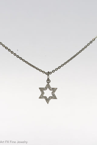 14k White Gold and Diamond Star of David Pendant
