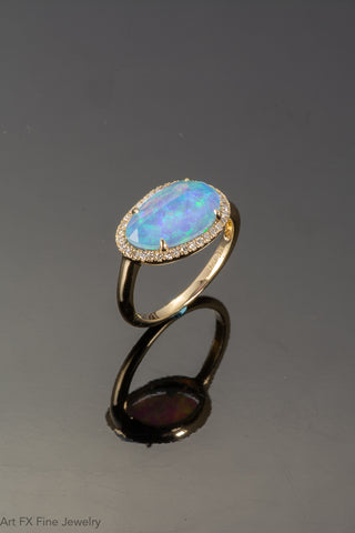 14k Yellow Gold Opal and Quartz Ring