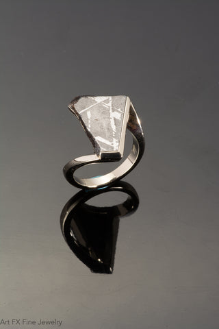 14k White Gold and Meteorite Ring