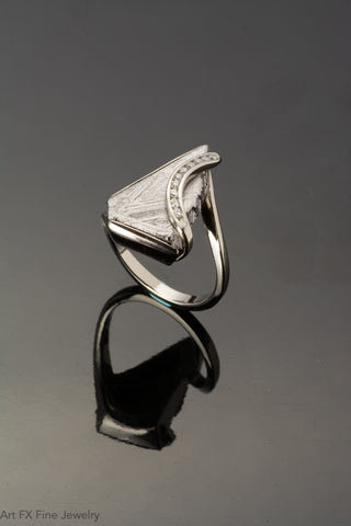 14k White Gold Meteorite and Diamond Ring