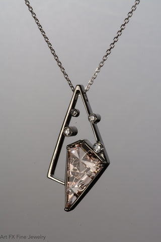 14k White Gold Morganite Pendant