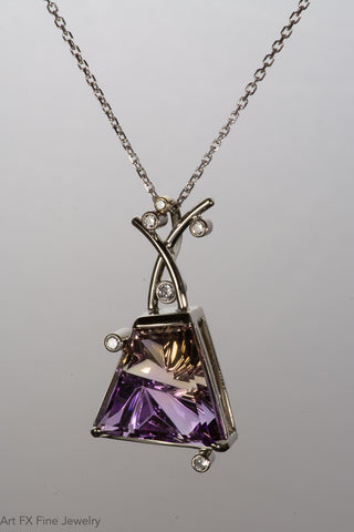 14k White Gold Ametrine and Diamond Pendant