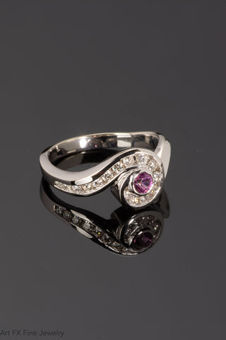 14k White Gold Rhodolite Garnet and Daimond Ring