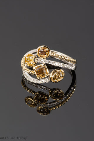 18k Two-Tone Gold and Yellow Diamond Ring