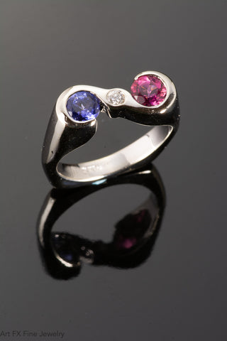 14k White Gold Tanzanite Pink Tourmaline and Diamond Ring