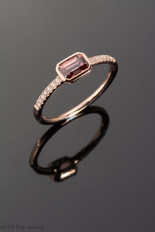 14k Rose Gold Spiced Zircon and Diamond Ring