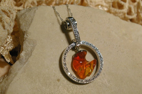 14k White Gold Mexican Fire Opal and Diamond Pendant