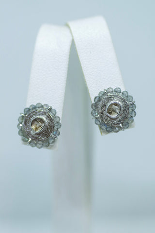 Sterling Silver Diamond Slice and Labradorite Earrings