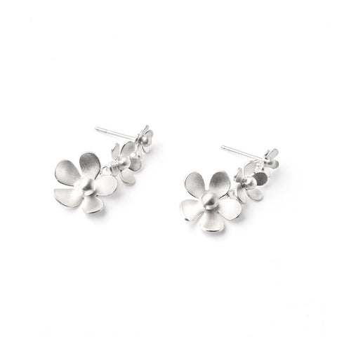 Sterling Silver Forget Me Not Dangle Earrings