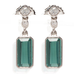 18k White Gold Tourmaline Earrings