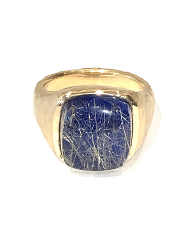 14k Yellow Gold Rutilated Quartz/Lapis Ring