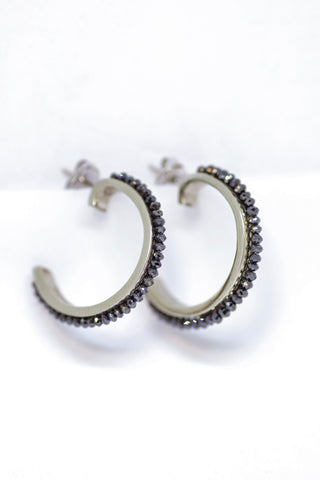 14k White Gold Large Black Diamond Hoop Earrings