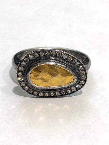 Oxidized Sterling/24ky Gold & Diamond Ring