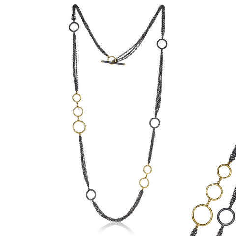 Oxidized Sterling Silver and 24k Yellow Gold Necklace
