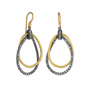 Oxidized Sterling Silver 24k Gold and Diamond Earrings