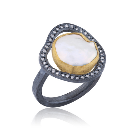 Oxidized Sterling Silver 24k Gold and Pearl Ring