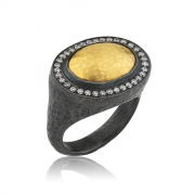 Oxidized Sterling Silver and 24k Yellow Gold Ring