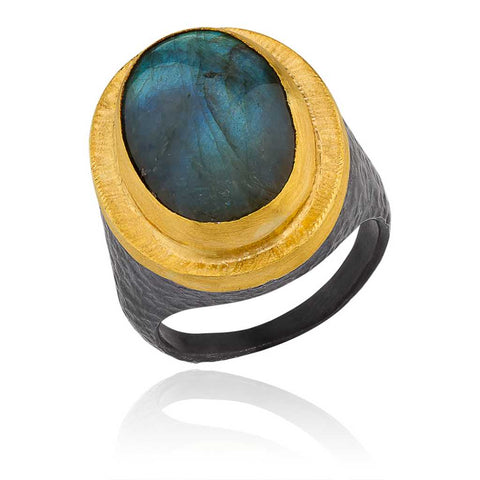 Oxidized Sterling Silver 24k Gold and Labradorite Ring