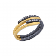 24k Gold & Oxidized Sterling Silver Diamond Ring