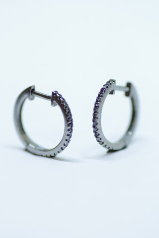 14k Gold Black Diamond Hinged Hoop Earrings (Large)