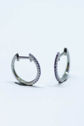 14k Gold Black Diamond Hinged Hoop Earrings (Small)