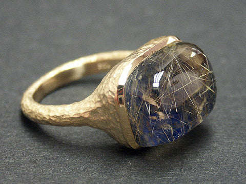 14k Yellow Gold Rutilated Quartz and Lapis Ring