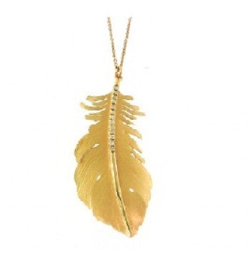 14k Yellow Gold and Diamond Feather