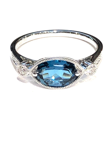 14k White Gold London Blue Topaz and Diamond Ring