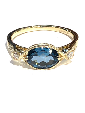 14k Yellow Gold London Blue Topaz and Diamond Ring