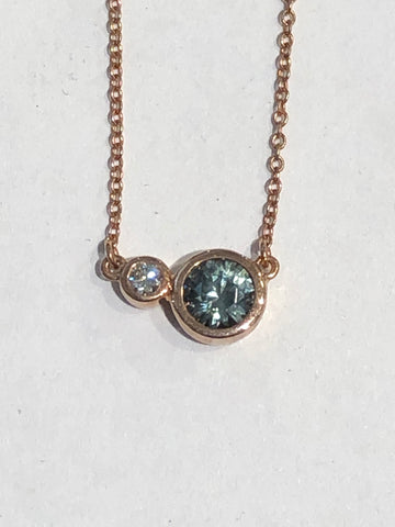14k Rose Gold Montana Sapphire and Diamond Pendant