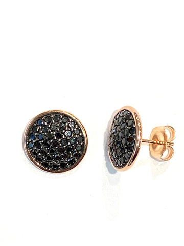 10k Rose Gold Pave' Black Diamond Studs