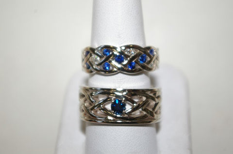 (Design ideas) 14k White Gold Crossover Diamond and Sapphire Rings