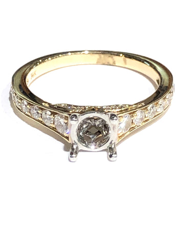 14k Yellow Gold Diamond Semi-Mount