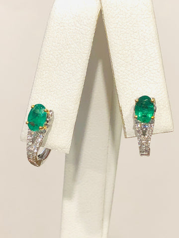 18k Two-Tone Emerald and Diamond Earrings