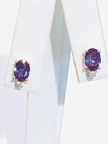 14k White Gold Created Alexandrite and Diamond Earrings