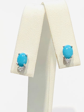 14k White Gold Turquoise and Diamond Earrings
