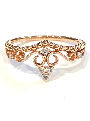 14k Rose Gold Crown Ring