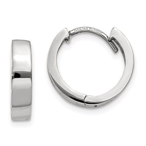 14k White Gold Hinged Huggie Hoop Earrings