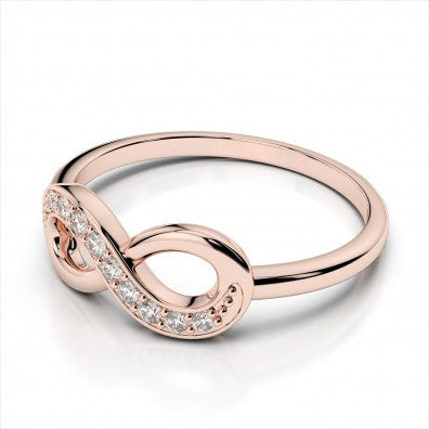 14k Rose Gold Diamond Infinity Ring