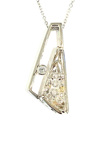 14k White Gold Rutilated Quartz and Diamond Pendant