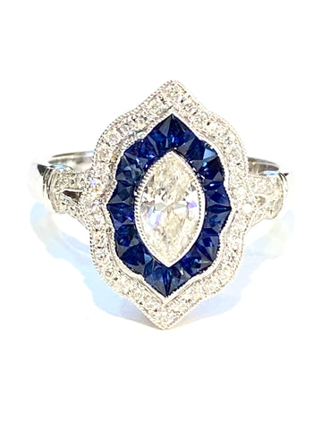 18k White Gold Diamond and Sapphire Ring