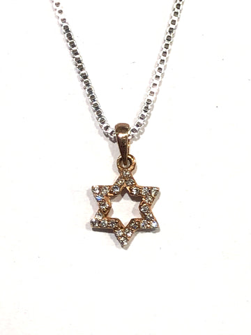 14k Rose Gold Star of David Diamond Pendant