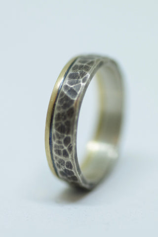 Sterling and 14k Yellow Gold Band