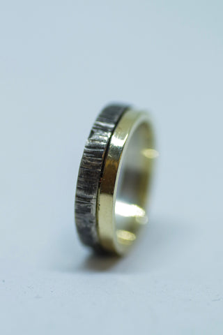 Sterling and 18k Yellow Gold Flat Band