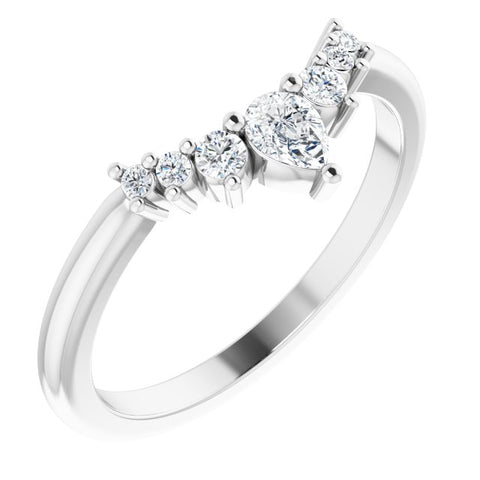14k White Gold Diamond Contour Band