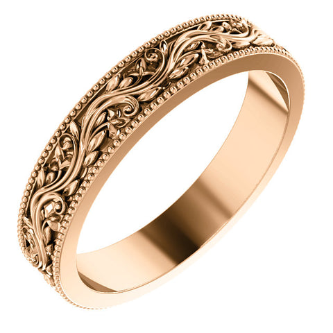 14k Rose 4mm Sculptual-Inspired Milgrain Band Size 7