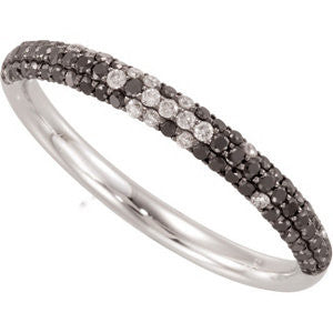 14k White Gold 3/8 ctw Black and White Diamond Ring