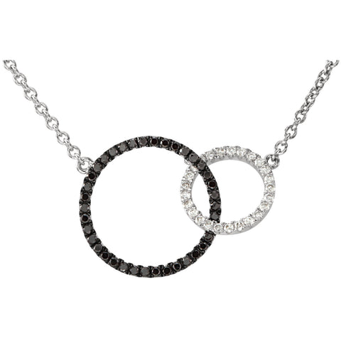 14k White Gold Black and White Diamond Circle Pendant